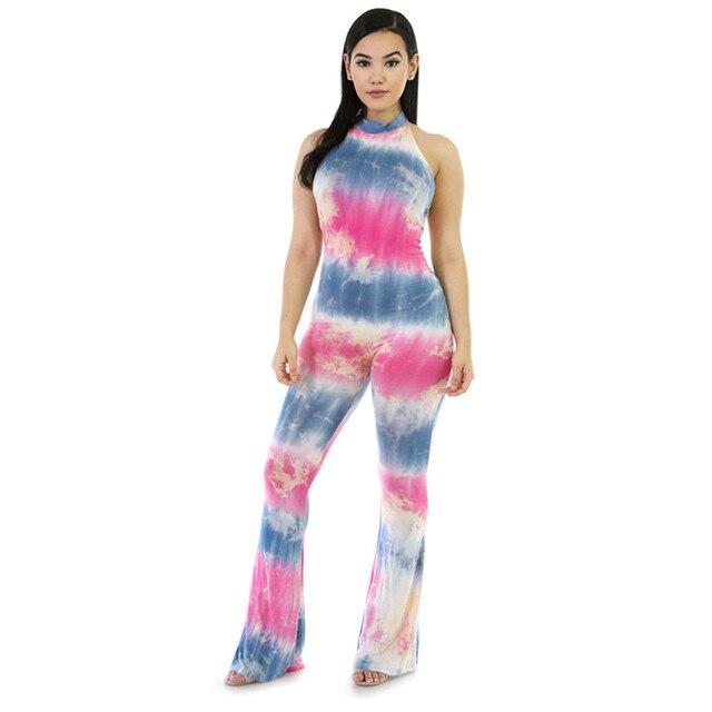 Cfanny 2016 mezcla tie dye campana de fondo plano mamelucos womens jumpsuit bodycon elegante mono pantalones flare verano monos de mujer