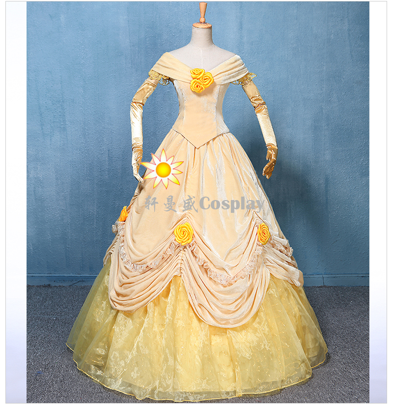 100%real new velvet and organza light yellow belle cosplay medieval dress  Renaissance ball gown princess Victorian/can customs