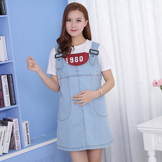 cc2f43dc45149 Wholesale Pregnant Women Strap Dress Summer Loose Denim Belly-Supporting Maternity  Dress Pregnancy Clothes Overall Plus Size 4XL