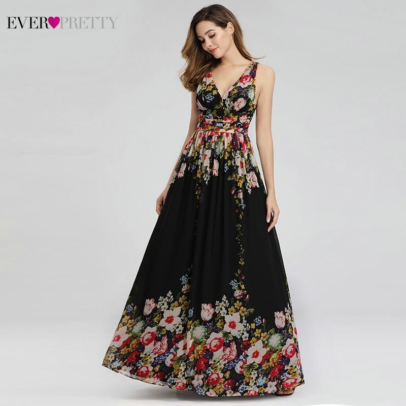 Floral Printed Elegant Prom Dresses Ever Pretty A-Line V-Neck Sleeveless Sexy Formal Party Dresses EP09016BP Vestidos De Gala