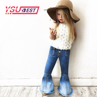 2017 New Girls Bell Bottomed Cowboy Pants Spring Children Girls Denim Trousers Outfits Baby Costume Fashion