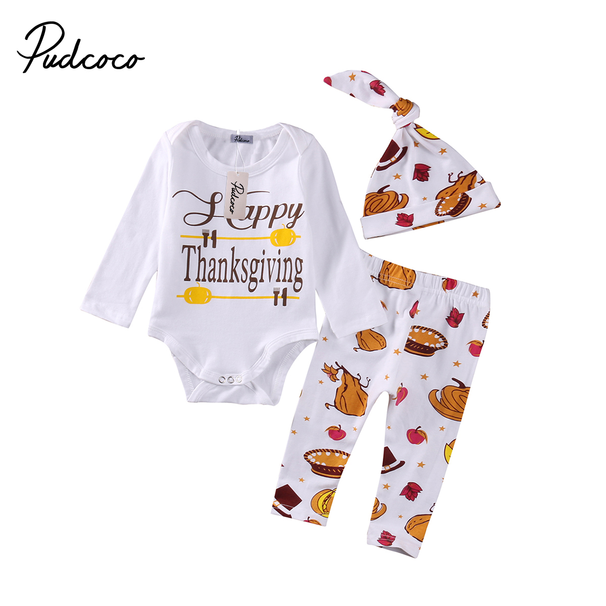 Pudcoco 3PCS Newborn Baby Boys Girls Clothes Long Sleeve O-Neck Bodysuit Pants Leggings Hat Outfits Set 0-18 Months Helen115