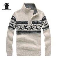 Brand New Mężczyzna Christmas Jelenie Żakardowe Zamek Wełny Zagęścić Swetry Stanąć Kołnierz Mody Dorywczo Sweter Dla Mężczyzn Swetry CF7731