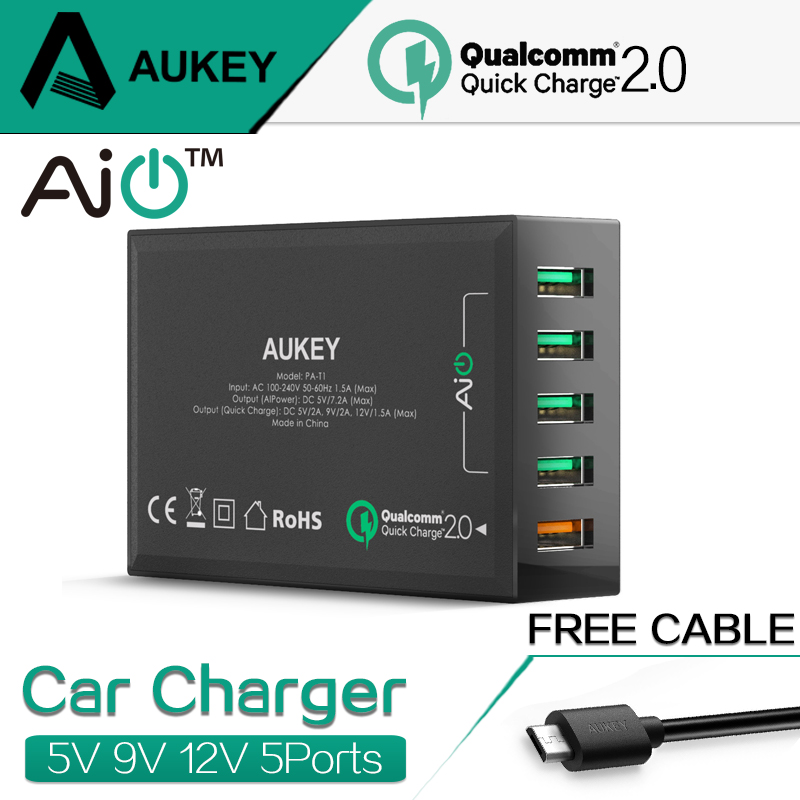 AUKEY Quick Charge 2.0 54W 5 Port Micro USB Desktop <font><b>Mobile</b></font> <font><b>Charger</b></font> QC2.0 Wall Charging EU US Plug for iPhone Samsung S6 SONY HTC