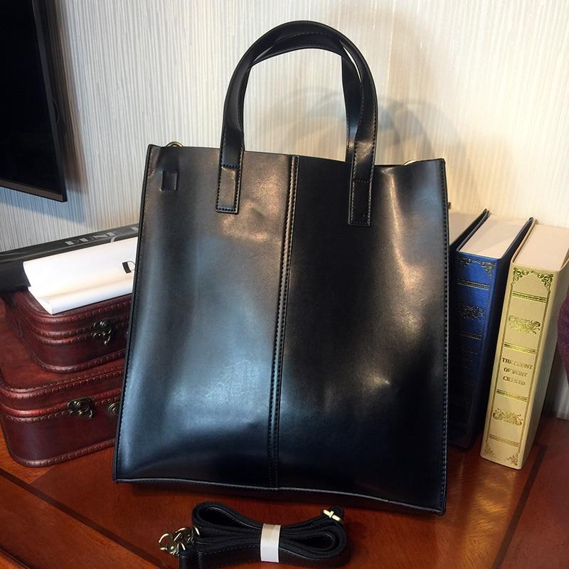 ETONWEAG Cow Leather Tote Bags Handbags Women Famous Brands Black Vintage Shopping Bag Designer Big Capacity Laptop Shoulder Bag