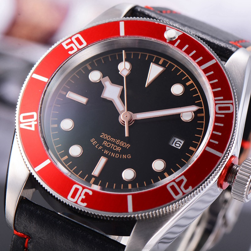 41mm relogio a prova de ague Sterile Dial Sapphire Glass calendar Red Bezel Mechanical wristwatches male Automatic Watch men|watch automatic|watch watch|watches watch watch - title=