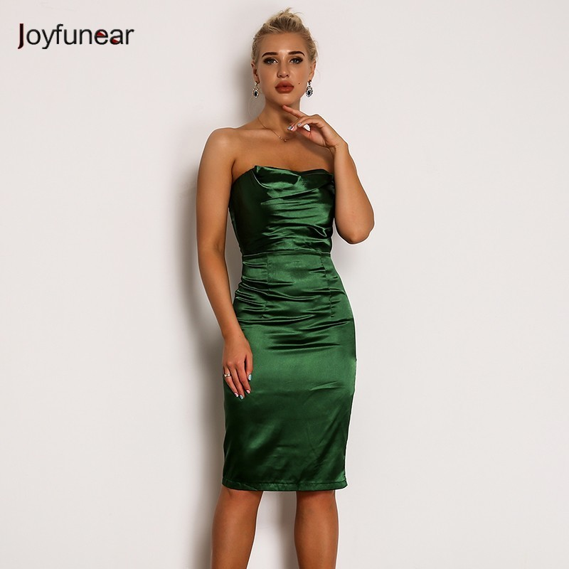 Joyfunear Green Satin Off Shoulder Women Dress Summer Slash Neck Sleeveless Bodycon Party Dresses Solid Backless Sexy Dress