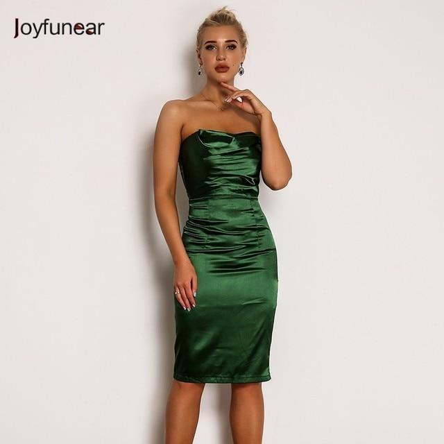 c81154711a9 Joyfunear Green Satin Off Shoulder Women Dress Summer Slash Neck Sleeveless  Bodycon Party Dresses Solid Backless Sexy Dress