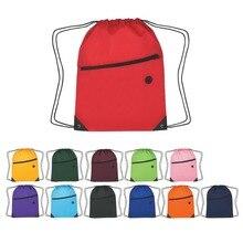 Men/Women Drawstring Backpack Solid Color School Backpack Girls Bookbag Pack Pouch Bag Men's Zipper Backpack Colorful vkystar219