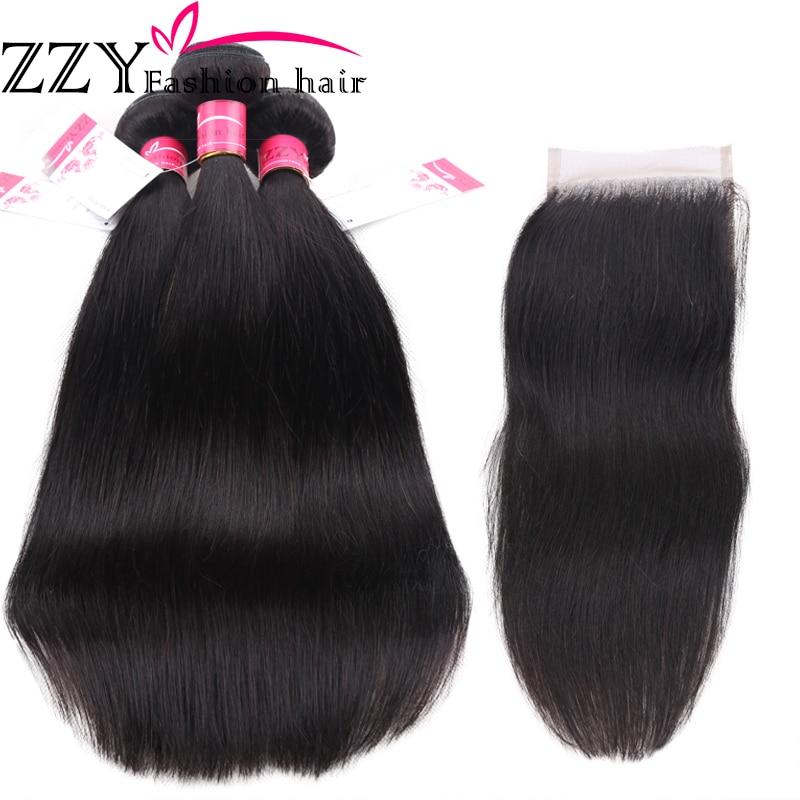 ZZY Fashion Hair Straight Hair Bundles med Closure Peruvian Straight - Menneskehår (sort)