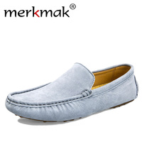Merkmak Luxury Brand Fashion Soft Moccasins Men Loafers High Quality Genuine Leather Shoes Mens Flats Suede