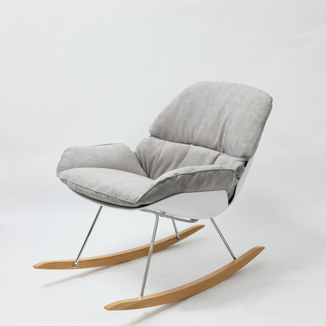 Minimalist Modern Design Rocking Chair Living Room Soft Cushion Solid  Wooden Leg Rocker Lounge Chair Home
