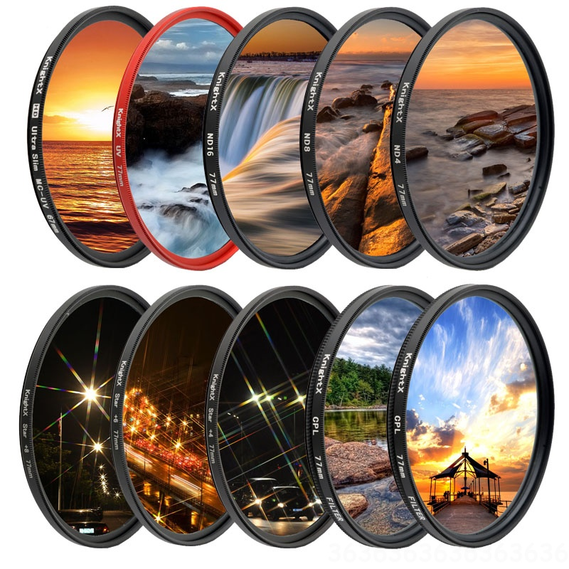 KnightX UV CPL ND Star Line Camera Lens Filter For Canon Sony Nikon 49 52 55 58 62 67 72 77 Mm Accessories Photo 700d 24-105