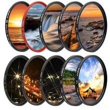 KnightX Filtro de lente de cámara UV CPL ND Star line para canon sony nikon 49 52 55 58 62 67 72 77 mm accesorios photo 700d 24 2011