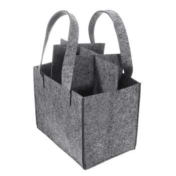 Reusable Fashion Felt Bag Wine Holder Beer Bottle Shopping Tote Bag Bottle Carrier with 6 Bottles Divider Washable Grey 5