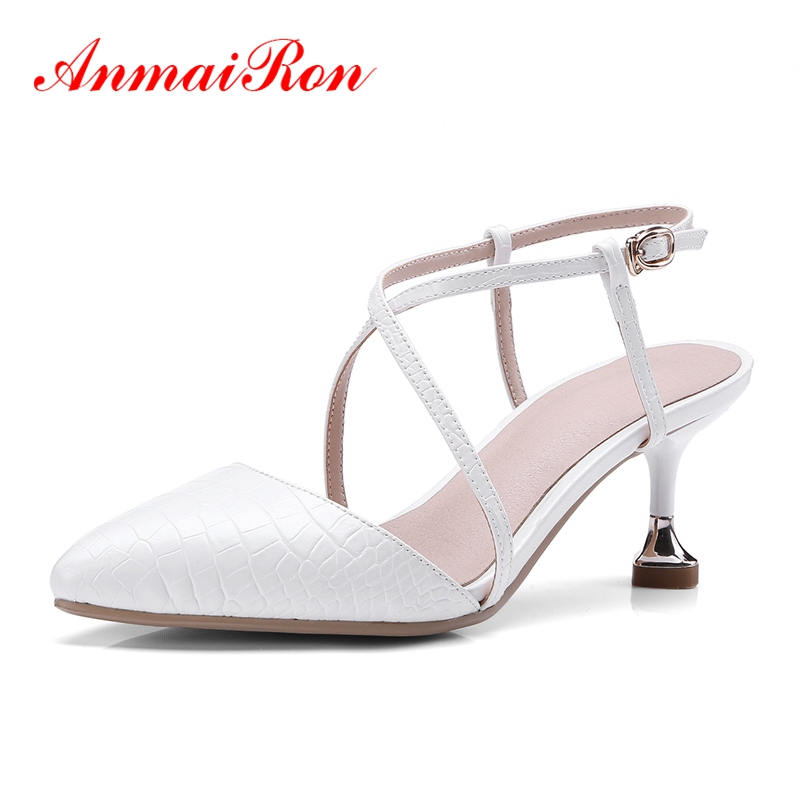 ANMAIRON New arrival Summer Sandals Fashion Causal shoes Women pointed toe thin heel cross tied buckle sandals ZYL584