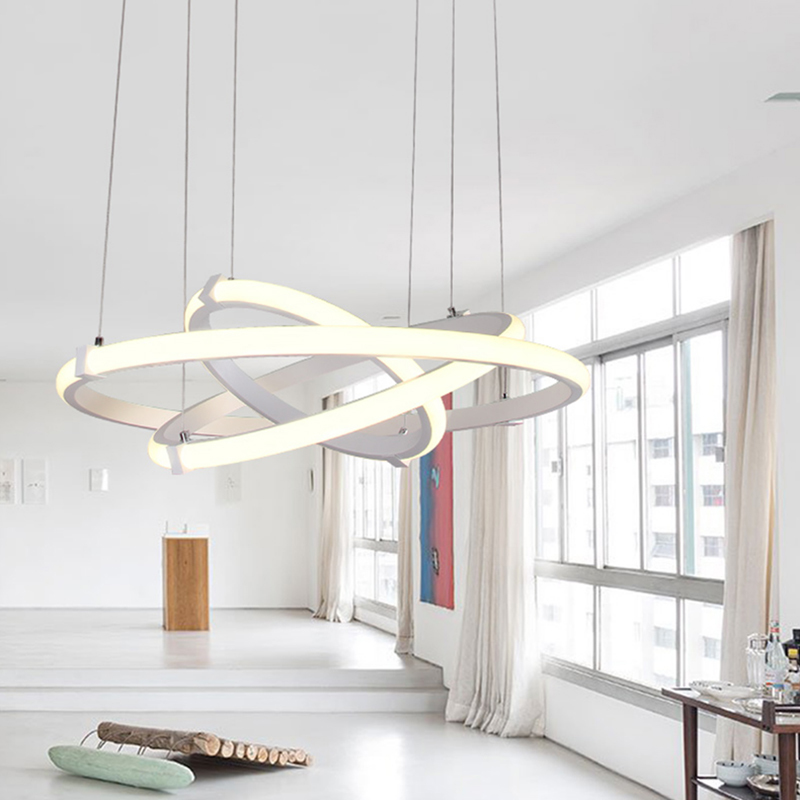Modern LED pendant lights for living dining room aluminum lampara de techo para sala de estar AC85-265V Home Decor lighting 40cm acrylic round hanging modern led pendant light lamp for dining living room lighting lustres de sala teto