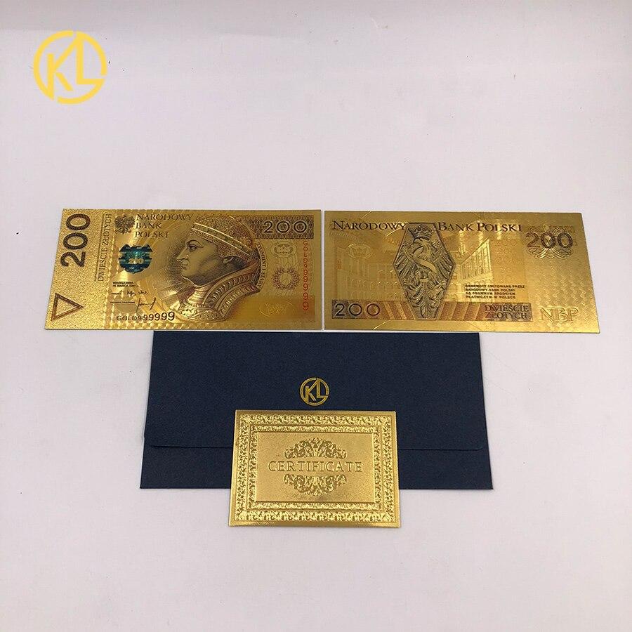 Frete grátis venda quente 10 pçs/lote 24k banhado a ouro nota 200 pln colorido polónia moeda projetado para nice coleção presentes