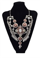 Старинные золотые посеребренная Большой Цветок Смолы Кристалл Подвеска Choker Chain Кисточкой Биб Ожерелье