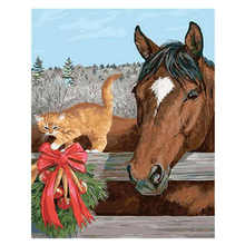 Cat With Horse Painting By Numbers,Decoration Oil For Living Room,Animal Drawing Numbers