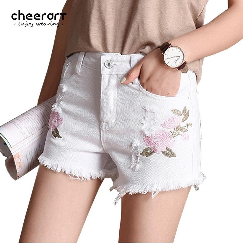 Cheerart 2017 Summer White Denim   Shorts   Women Ripped Floral Embroidery Denim Jeans   Short   Rose Femme 2017