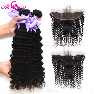 Image 3 - Ali Coco Brazilian Deep Wave Lace Frontal With Bundles Ear To Ear Lace Frontal With Bundles Remy Human Hair Bundle With Frontal