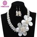 Beautiful Handmade White Pearl Beads Flower Necklace Set Wedding Bridal Jewelry Christmas Gift Jewelry Set  Free Shipping ABC919