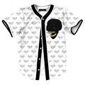 Nova Crânio Impresso Camisa do Basebol T Dos Homens Único Breasted Manga Curta Camiseta Homme Marca Cardigan V Pescoço Moda Camisas Engraçadas de T