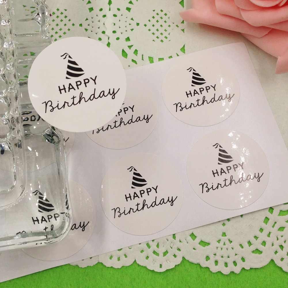 100 pcs Feliz aniversário Etiqueta Etiquetas de Papel Kraft 3.5 cm Rodada Embalagem Etiquetas de Vedação adesivos para Presentes de Casamento Bolo de Aniversário