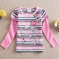 NEAT 100% algodão Do Bebê roupas de menina t-shirt dos desenhos animados manga longa flores borboleta crianças roupas crianças listrado desgaste L252