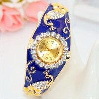 Women Brand Luxury Peacock Craft Bracelet Gold Dress Watch Folk Style Lady Gold Bangle Enamel Diamond Bracelet Quartz Wristwatch