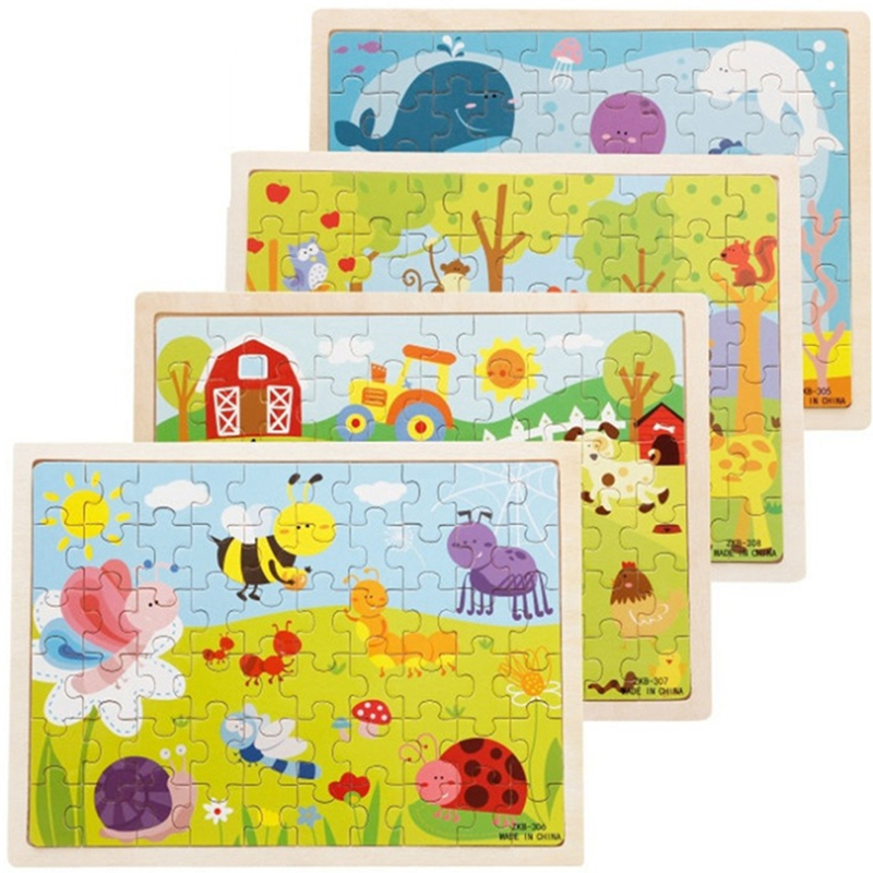 Hot Sale Baby Kids Funny Jigsaw 60Pcs/set Wooden Puzzle Toy Cartoon Creative Educational  Children Gift Early Education Toys