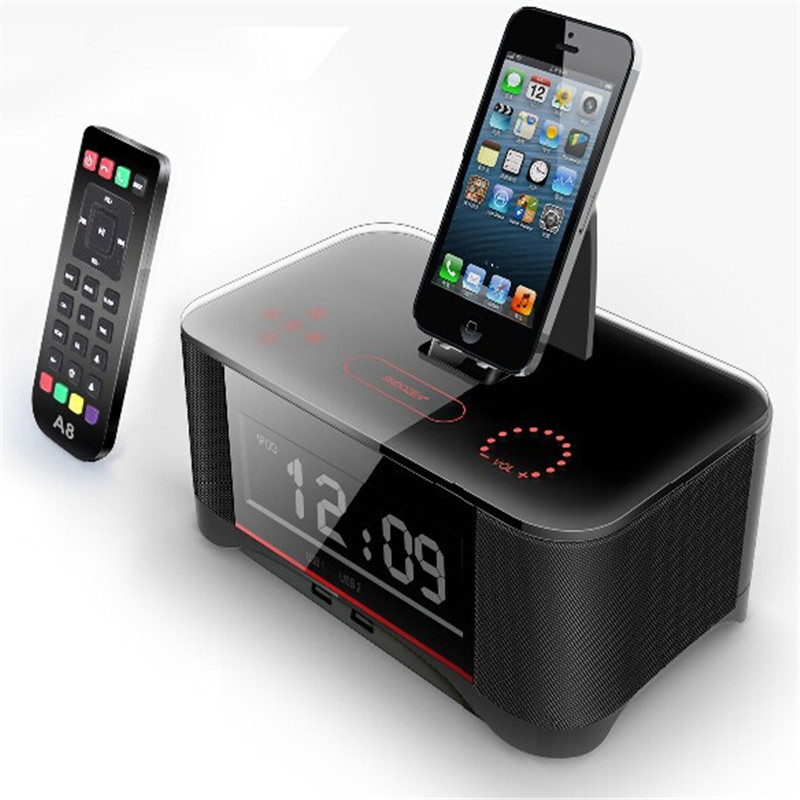 New Coming Multi-function for iPhone6 7 8 X Docking Alarm Station Speaker A8 with Advanced NFC for Iphone 6s iphone 7 Samsung цена и фото