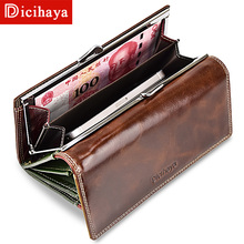 Guarantee 100% Wax Oil Leather Women Wallet Color Leather Lining Purse Brand Design Clutch Wallet Money Bag Ladies Coins Holder