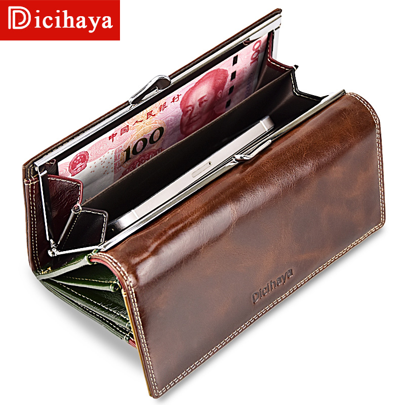 DICIHAYA Wax Oil Leather Women Wallet Color Leather Lining Purse Brand Design Clutch Money Bag Ladies Coins Holder A150-9112