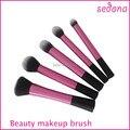 5 pcs rosa super macio taklon kit escova de cabelo maquiagem profissional básica