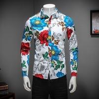 2018 Nieuwe Mannen Shirt Merk Kleding Lente Slim Fit Casual Shirt Mens Lange Mouwen Kraagvorm Mannen Bloemen Shirt Mannen Blouse 5XL