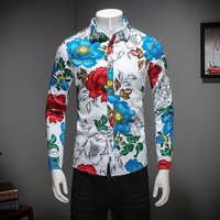 2017 New Men Shirt Brand Clothing Spring Slim Fit Casual Shirt Mens Long Sleeve Turn Down
