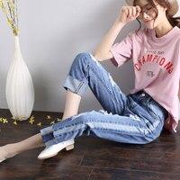2017 herbst Neue Muster Einfachen Rand Löcher Cowboy Breites Bein Jeans Zeigen Dünne Direkt Kanister Neun Teil Denim Hosen