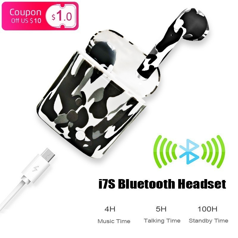 Factory Sale Quality I7s Tws 4.2 Wireless Bluetooth Earhpone Headset Colorful Pattern Portable Mini Charging Box