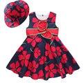 2016 Nuevo Verano de la Muchacha de Flor Del Vestido y Sombrero de La Suite Del Arco de Mariposa Floral Niños de Picnic Conjunto de Moda 100% Algodón de La Princesa