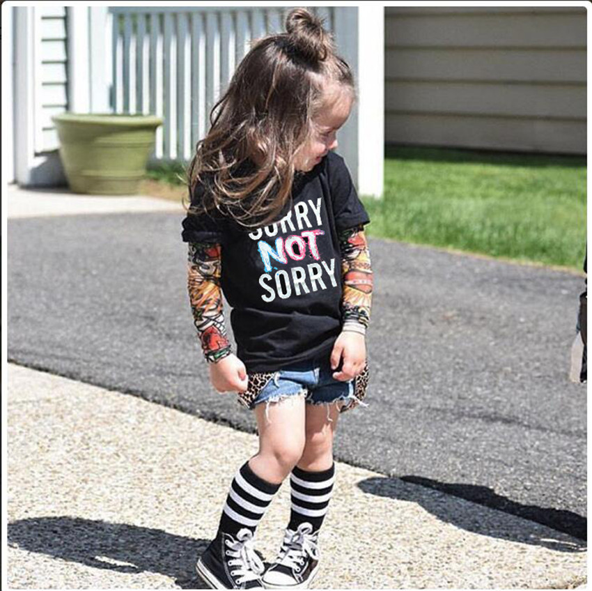 Baby Boys Tattoo Sleeves T-shirt boys clothing streetwear Hip Hop toddler girls clothes children costumes spiderman Batman Tiger