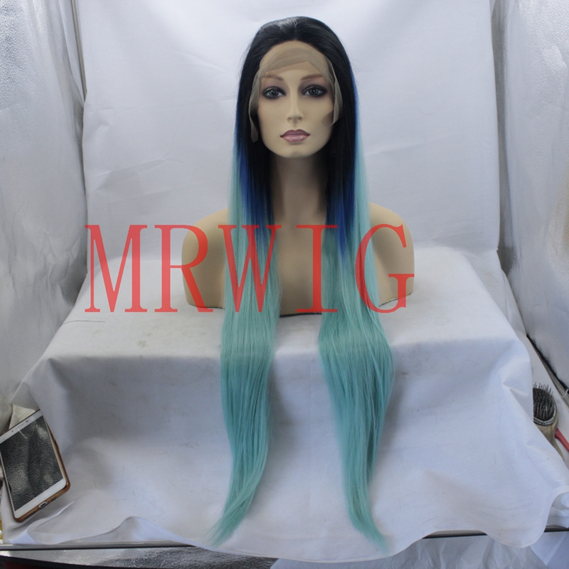 MRWIG высокое Температура волокна волос Ombre темные корни голубой цвет руки связали настоящие волосы прямые 12-30 дюймов в африканском стиле амер...