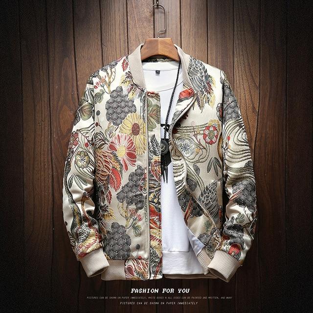 2018 осень новая японская вышивка мужская куртка, пальто человек хип хоп Уличная Мужская куртка, пальто куртка-бомбер куртка мужская