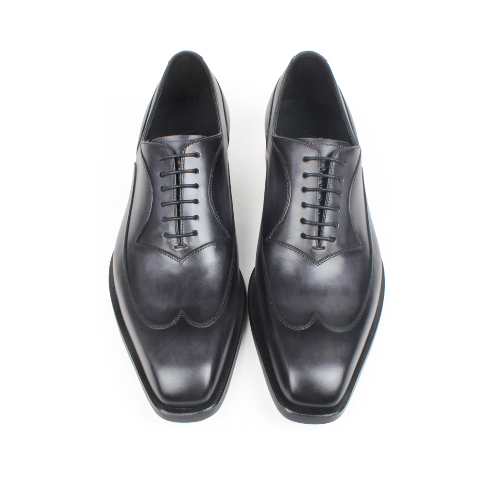 VIKEDUO Black Gray Oxford Wedding Office Dress Shoes For Men Genuine Cow Leather Brogue Patina Mans Footwear Zapatos de Hombre in Oxfords from Shoes