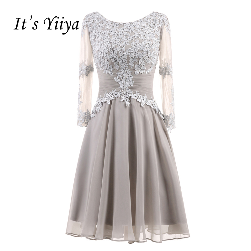 It's YiiYa New Sexy Illusion Long Sleeves Draped Pleat Flowers Zipper Cocktail Dresses Knee Length Formal Dress Party Gown 7555
