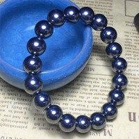 Natural Terahertz Wave Gems Stone Round Beads Healing Women Nice Bracelet 10mm