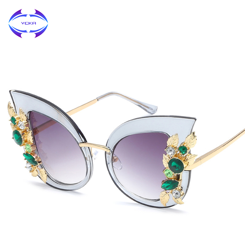 3e3964ba053 VCKA Luxury Women Sunglasses Crystal Diamond Decoration Cat Eye Sun Glasses  Fashion Vintage Eyewear UV400 Driving-in Sunglasses from Apparel  Accessories on ...