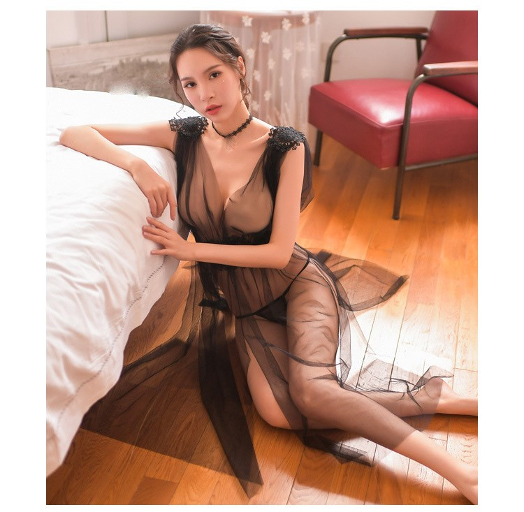 2019 Gauze Embroidery Sheer Long Night Dress Sleepshirts Women Nightwear Solid Lace Sexy Nightgowns in Nightgowns Sleepshirts from Underwear Sleepwears