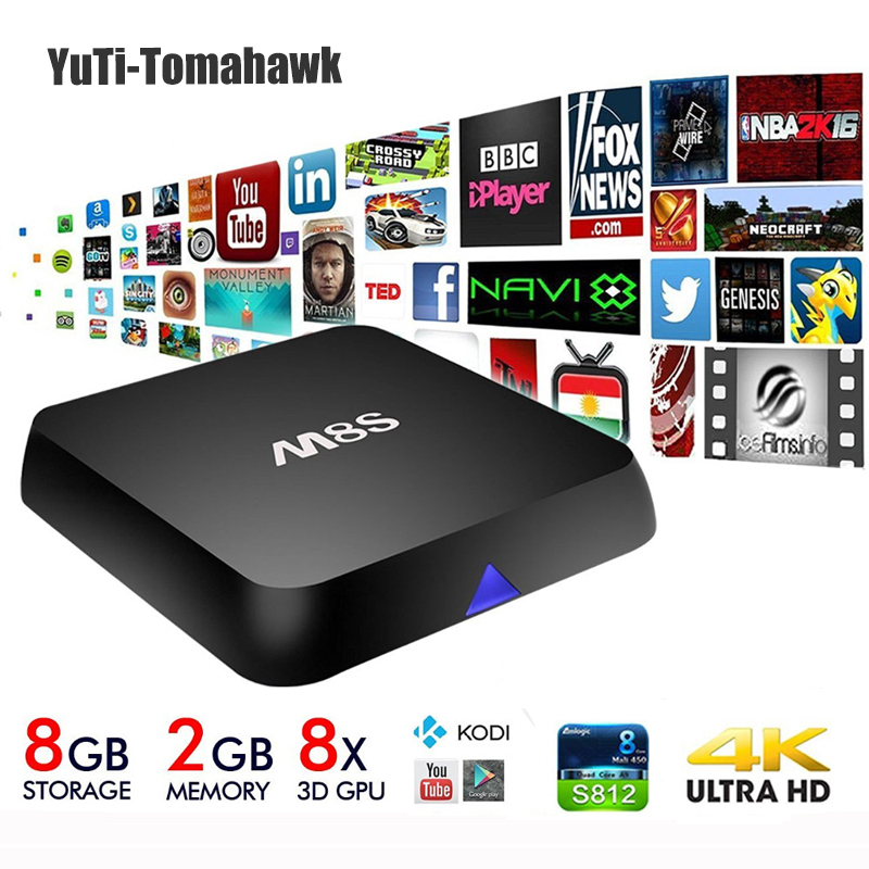 Amlogic Android TV Box MiNi PC M8S Quad Core 2G/8G Kodi Add-ons Pre-installed 4K 2.4G&5G WiFi Full HD Smart TV Media Player